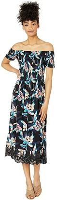 Roxy Pretty Lovers Off-the-Shoulder Midi Dress (Anthracite Tropicoco) Women's Clothing