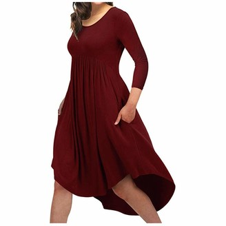 KPILP Womens Plus Size Dress Long Sleeve Round Neck Loose fit Solid Color Maxi Dress Irregular Hem Baggy Jumper Spring Summer Casual Long Dress for Ladies(Red XL)