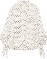 Balenciaga Knotted Printed Silk-satin Jacquard Shirt - White