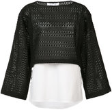 Derek Lam 10 Crosby contrast top - women - Cotton/Nylon - 0