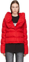 Givenchy Red Down Ruffle Collar Coat