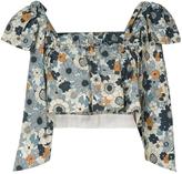 Chloé Tie Shoulder Floral Ruffle Crop Top