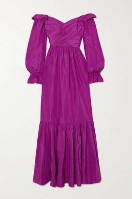 Self-Portrait Off-the-shoulder Ruffled Taffeta Gown - Purple