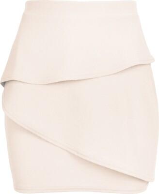Fashion Star Womens Peplum Ruffle Frill Elasticated Waist Pencil Bodycon Mini Skirt Red