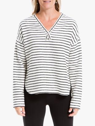 Max Studio Striped V-Neck Jersey Top, Multi