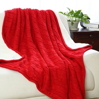 """Piccocasa Cable Knit Reversible Throw Blanket w Fuzzy Fleece for Couch 50""""x60"""""""