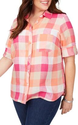 Foxcroft Tamara Boardwalk Check Linen Shirt