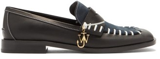 J.W.Anderson Topstitched Leather And Suede Loafers - Black Navy