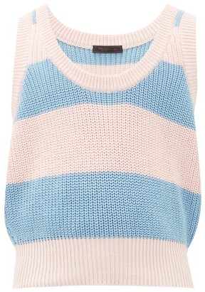 Prada Scoop-neck Striped Cotton Vest - Mens - Pink Multi