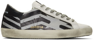 Golden Goose Silver and White Scotch Flag Superstar Sneakers