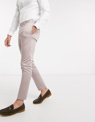 ASOS DESIGN wedding super skinny suit pants in stretch cotton in mink