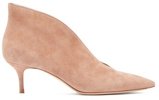 Gianvito Rossi Vania 55 Suede Ankle Boots - Nude