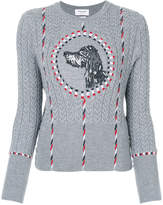 Thom Browne embroidered cable knit sweater