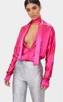 PrettyLittleThing Hot Pink Satin Choker Button Front Shirt
