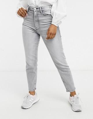Stradivarius organic cotton slim mom jeans with stretch in gray