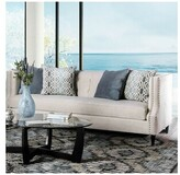 "Everly Rayna Microfiber 90"" Recessed Arm Sofa Quinn Upholstery: Beige"