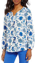 Preston & York Maria V-Neck Long Sleeve Printed Blouse