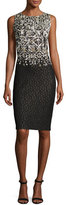 St. John Metallic Pixelated Jacquard Pencil Dress, Black/Gold