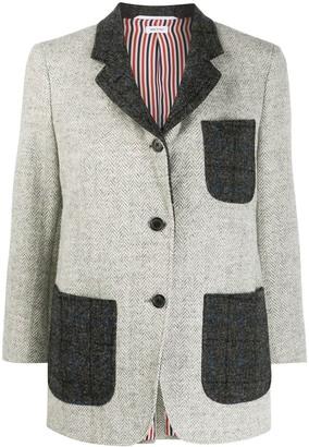 Thom Browne SB Sack Jacket w/ Combo In Herringbone Harris Tweed