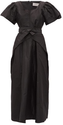 Preen by Thornton Bregazzi Jayda Wrap-waist Silk-taffeta Dress - Black