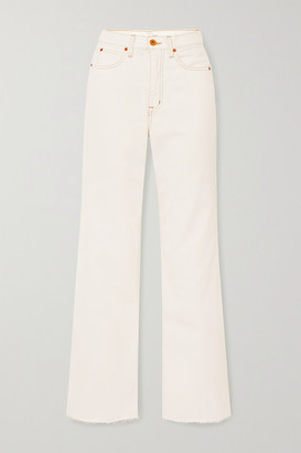 SLVRLAKE Grace Frayed High-rise Flared Jeans - White