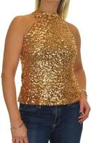 Ice Stretch Sequin Top Halter Choker Neck Evening Party 2-8