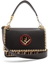 Fendi Kan I embroidered-raffia leather shoulder bag