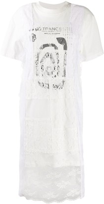 McQ lace layer T-shirt dress