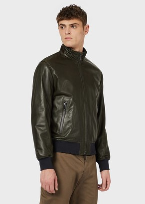 Emporio Armani Semi-Aniline Lambskin Nappa Leather Jacket