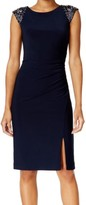 Vince Camuto Navy Blue Women's Size 4 Beaded Ruched Sheath Dress