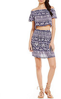 Sequin Hearts Off-The-Shoulder Smocked Printed Two-Piece Dress