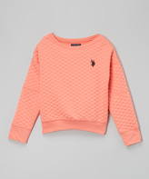 U.S. Polo Assn. Shell Pink Quilted Crewneck Top - Girls