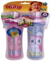 Nuby 531018OG Clik-It Insulated Owl Plus Garden No-Spill Cool Sipper for 18 Month Plus Children(2 Pack), 9 oz(270ml)