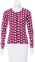 Diane von Furstenberg Geometric Printed Silk-Cashmere Blend Cardigan