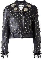 Moschino mirror embellished biker jacket
