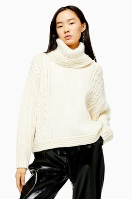 Topshop Womens Ivory Knitted Chunky Cable Roll Neck Jumper - Ivory