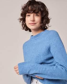 Sessun Italian Blue Acrylic and Wool Samani Pullover - m | Italian Blue