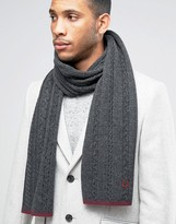 Fred Perry Tipped Cable Scarf In Lambswool
