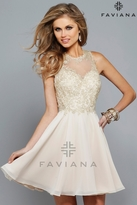 Faviana s7668 Short chiffon prom dress with embroidered lace bodice
