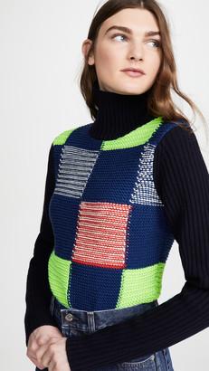 Victoria Beckham Patchwork Polo Neck Sweater