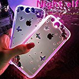 iPhone 6S/ 6 Plus Case,UZZO Bling Flower Crystal Rhinestone Diamond Clear TPU Cases Cover for iPhone 6/6S Plus Incoming Call LED Flash Light UP TPU Hybrid Case Cover(Lighting Color Can Change)