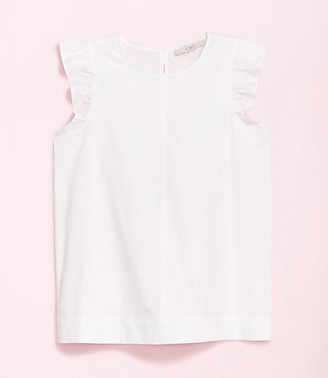 LOFT Plus Ruffle Sleeve Poplin Shell