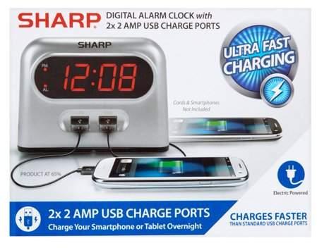 Sharp Alarm Clock with 2x 2 Amp USB Ports