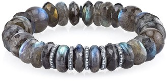 Sheryl Lowe Labradorite Beaded Bracelet With 5 Pave Diamond Rondelles