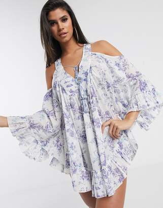 Asos Design DESIGN cold shoulder lilac chinoiserie print beach dress with mirror detail-Multi