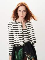 Oscar de la Renta Striped Embroidered Silk-Faille Jacket
