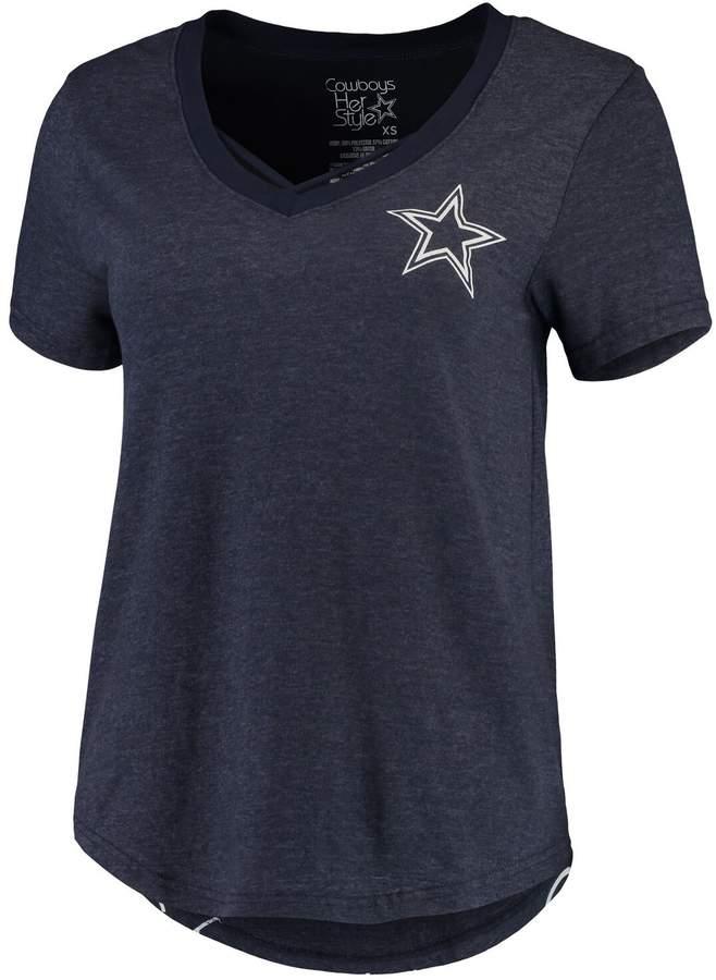 info for 5ddea 6cd79 Unbranded Women's Navy Dallas Cowboys Erika Tri-Blend V-Neck T-Shirt