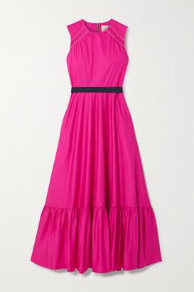 Roksanda Blaise Belted Tiered Cotton-poplin Midi Dress - Bright pink