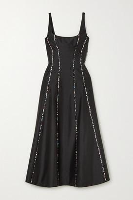 Rasario Sequin-embellished Silk-shantung Midi Dress - Black