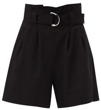 Ganni Paperbag-waist Crepe Shorts - Black